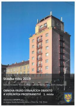 Společnost CPI Byty získala 1. místo v soutěži Stavba roku 2019