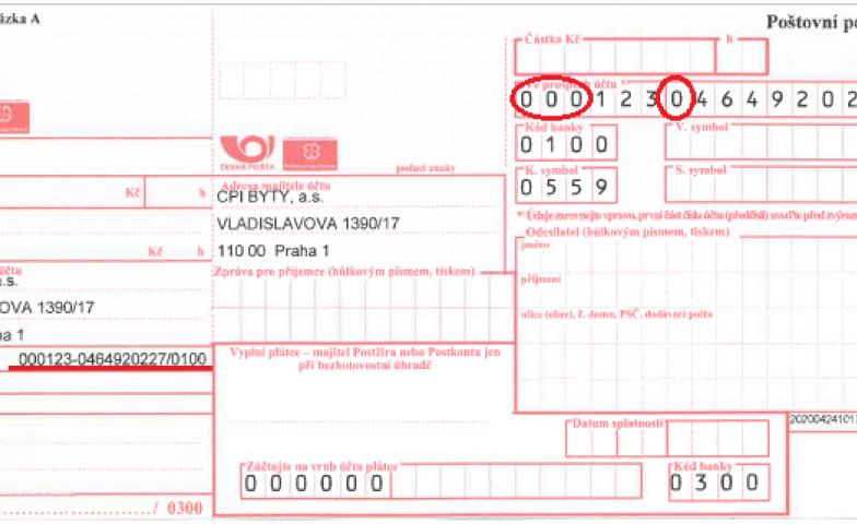 Každá nula se počítá aneb Správné zadávání čísla účtu na složenkách